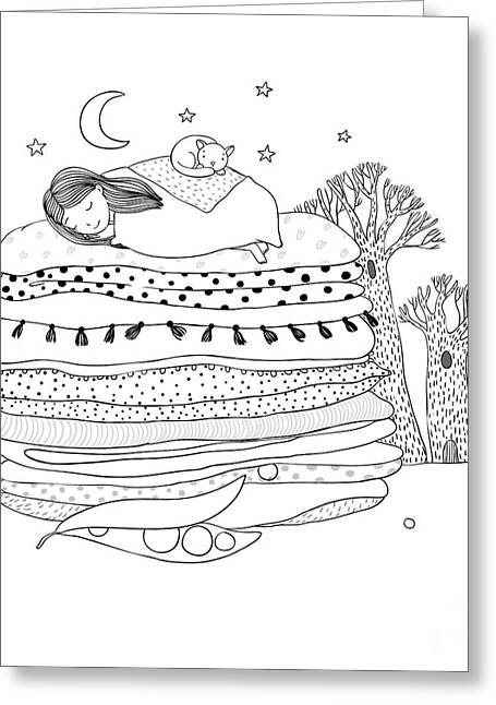 Princess On The Pea. Blankets And Greeting Card