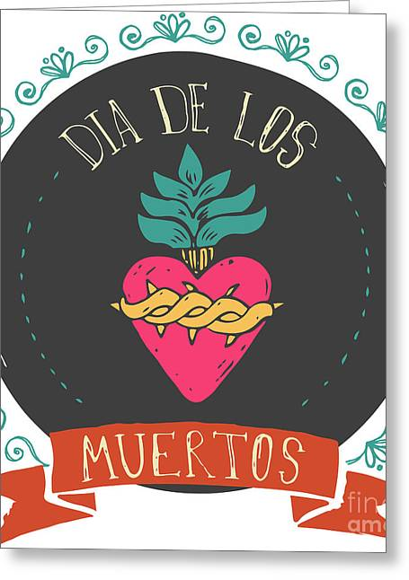 Print - Mexican Heart, Day Of The Dead Greeting Card