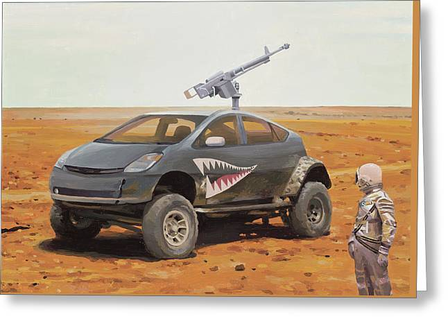 Greeting Card featuring the painting Prius Road Machine by Scott Listfield