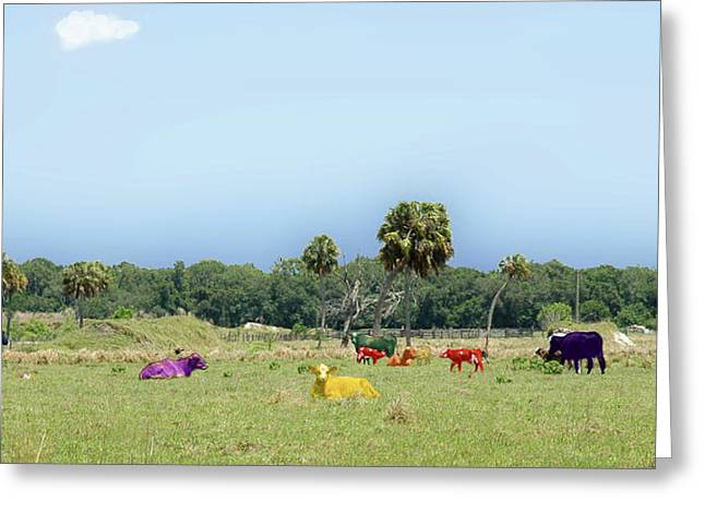 Psychedelic Cows Greeting Card