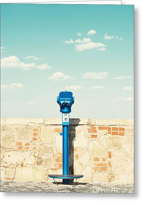 Public Binocular In Budapest Hungary Greeting Card