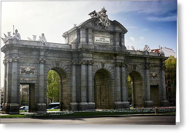 Puerta De Alcala In Madrid, Spain Greeting Card