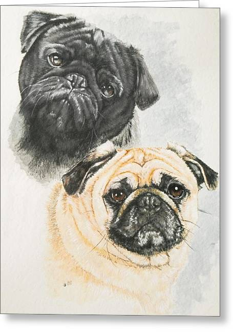 Pug Brothers Greeting Card