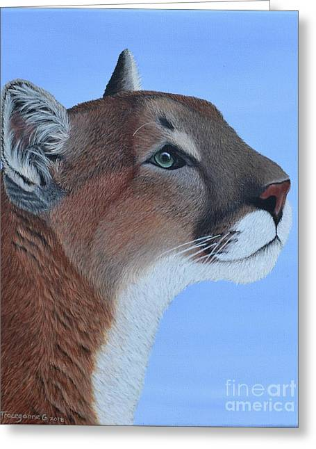 Greeting Card featuring the painting Puma by Tracey Goodwin