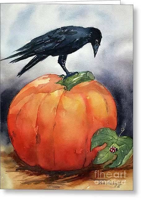 Pumpkin And Crow Greeting Card