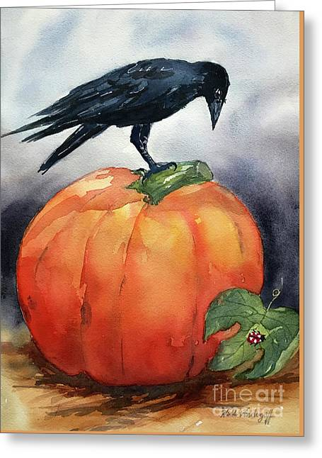 Pumpkin And Crow Greeting Card