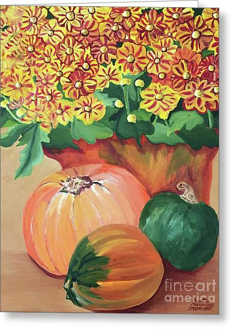 Pumpkin With Flowers Greeting Card