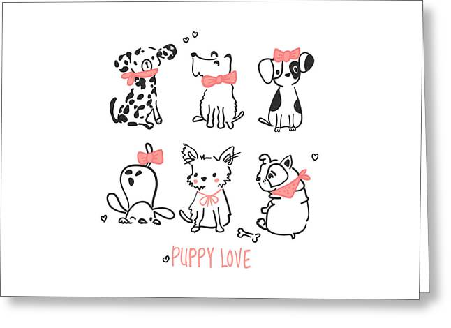 Puppy Love - Baby Room Nursery Art Poster Print Greeting Card