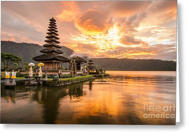 Pura Ulun Danu Bratan, Hindu Temple On Greeting Card