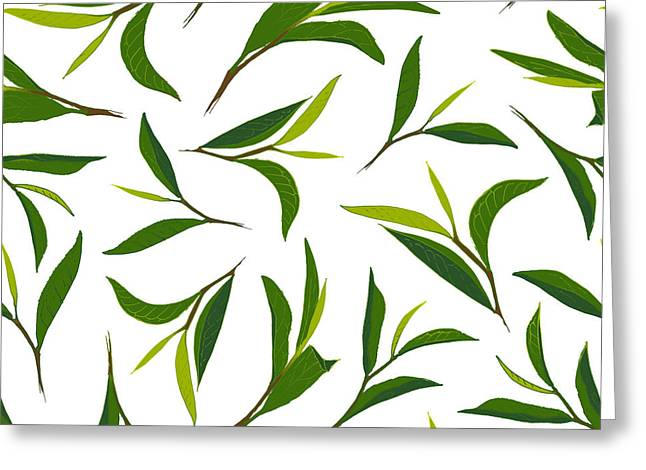 Pure Tea. Botanical Style Seamless Greeting Card by Irache