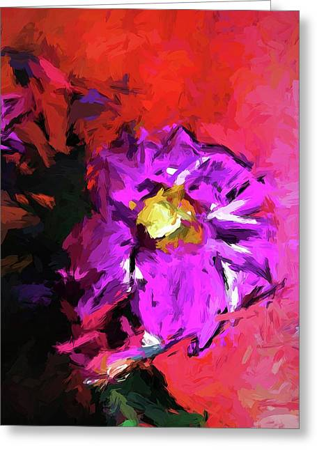 Purple And Yellow Flower And The Red Wall Greeting Card