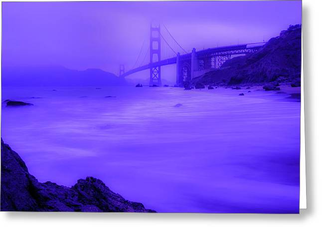 Purple Golden Gate Fog Greeting Card