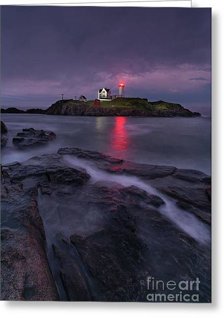 Purple Haze At Nubble Lighthouse Greeting Card