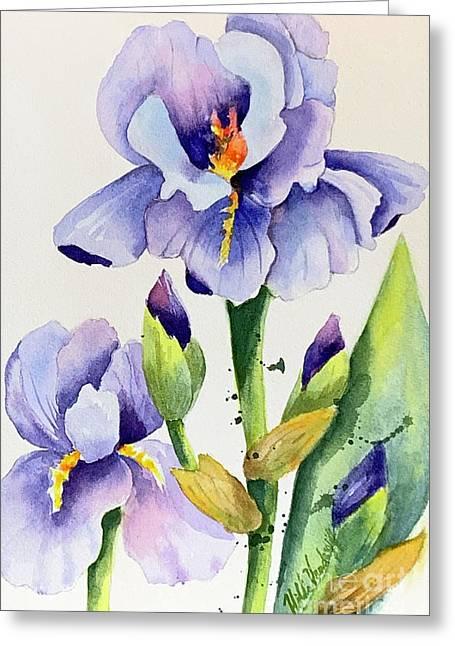 Purple Iris And Buds Greeting Card