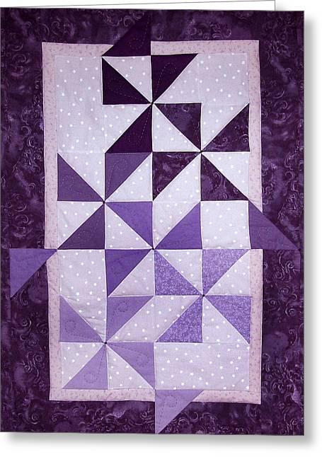 Purple Pinwheels Pirouetting Greeting Card