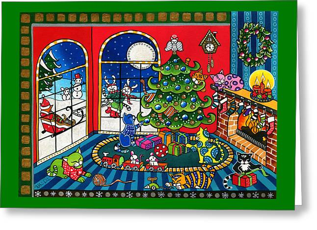 Purrfect Christmas Cat Painting Greeting Card