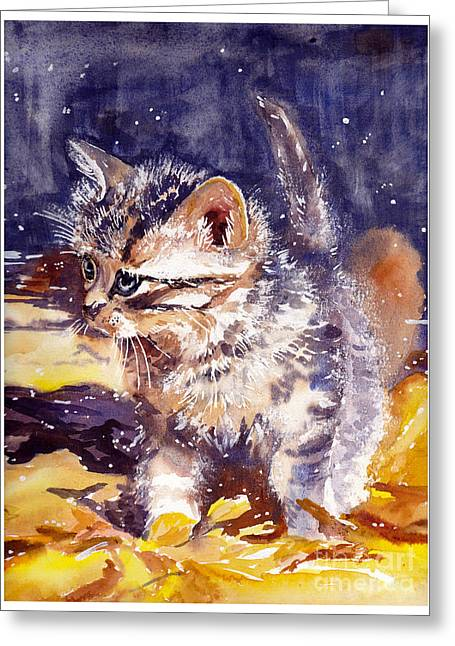Pussy On A Yellow Blanket Greeting Card