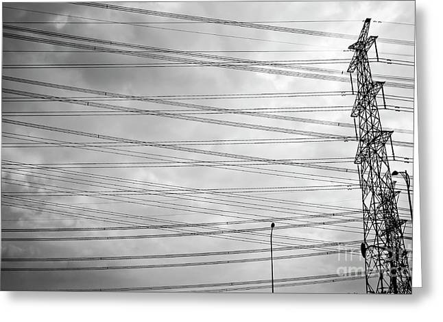 Pylon And Wires Greeting Card