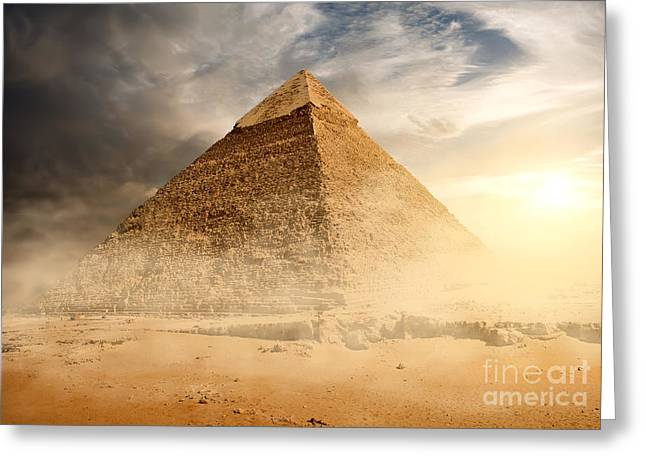 Pyramid In Sand Dust Under Gray Clouds Greeting Card