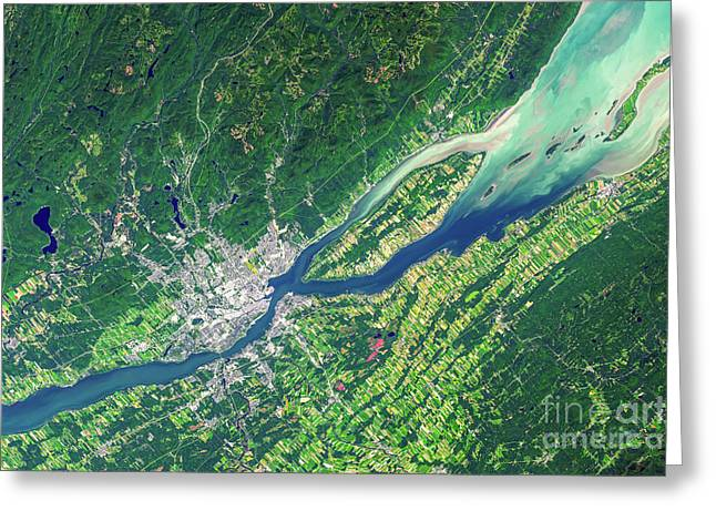 Quebec City From Space Greeting Card