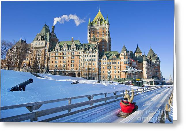 Quebec City In Winter, Traditional Greeting Card