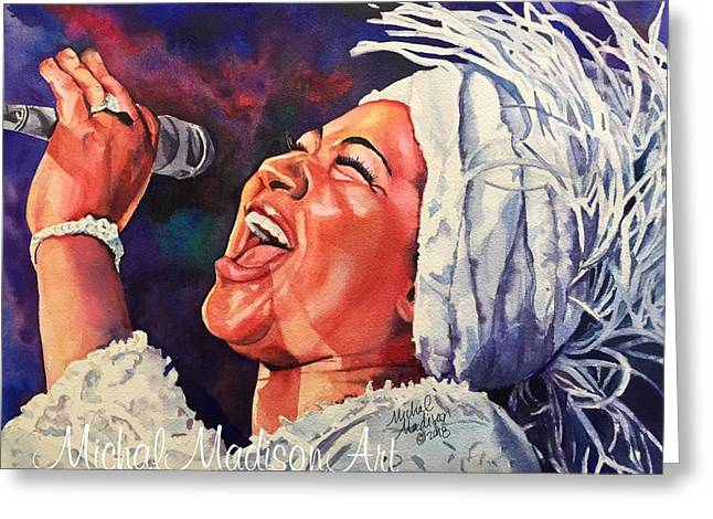 Greeting Card featuring the painting Queen Of Soul by Michal Madison
