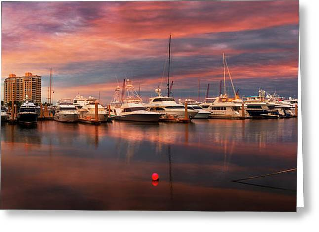 Quiet Evening On The Marina Greeting Card