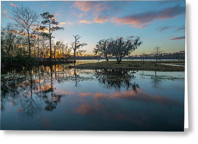 Quiet River Sunset Greeting Card