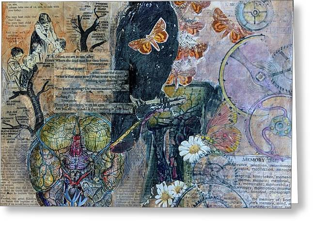 Greeting Card featuring the mixed media Quoth The Raven by Jillian Goldberg