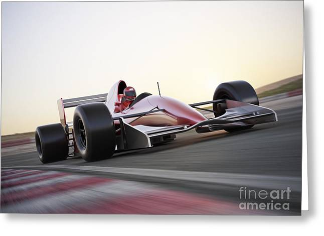 Race Car Racing On A Track With Motion Greeting Card
