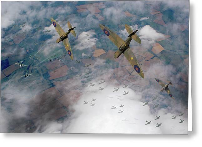 Raf Spitfires Swoop On Heinkels In Battle Of Britain Greeting Card