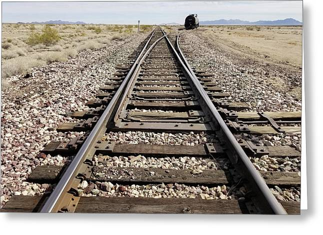 Railroad Mainline Arizona And California Railroad In The California Desert Greeting Card