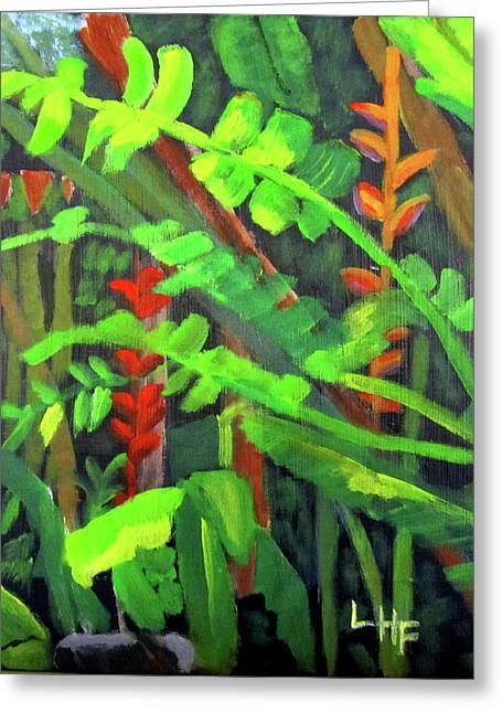 Greeting Card featuring the painting Rain Forest Memories by Linda Feinberg
