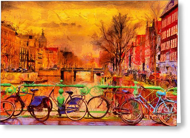 Rain Over Amsterdam Canal Impressionist Greeting Card