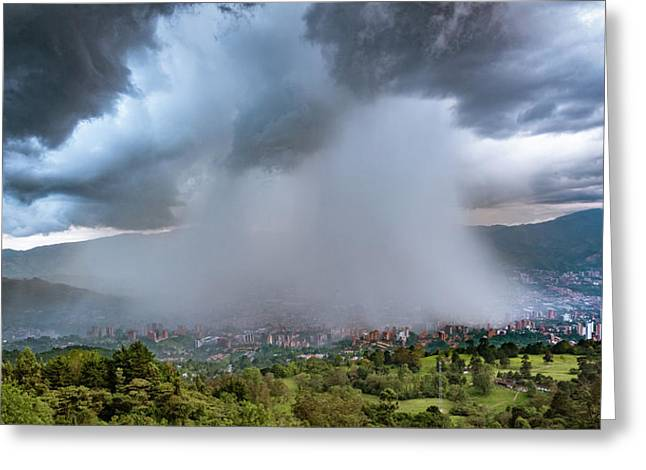 Greeting Card featuring the photograph Rain Storm Over Medellin by Francisco Gomez