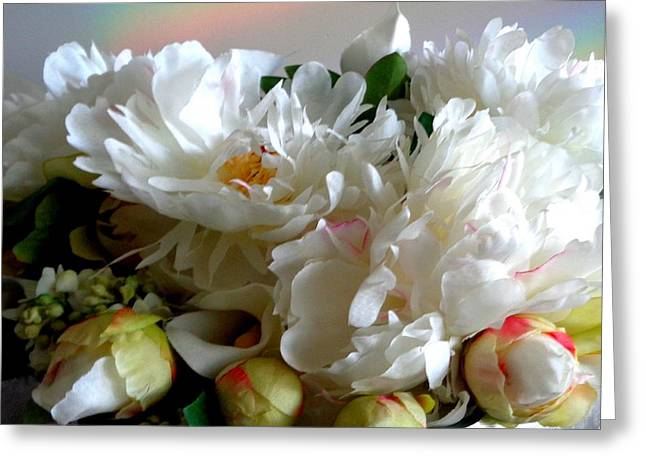 Rainbow Buds N' Blooms Three Greeting Card