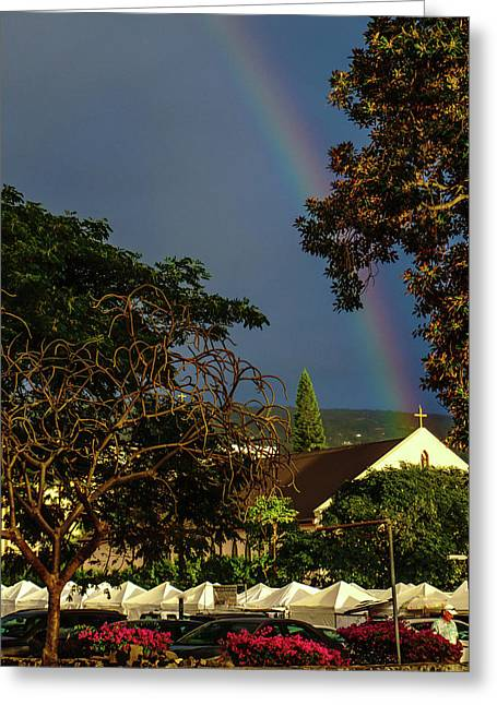 Rainbow Ended At The Church Greeting Card
