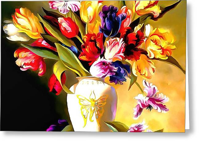 Greeting Card featuring the painting Rainbow Floral Array Soft And Wet Paint by Catherine Lott