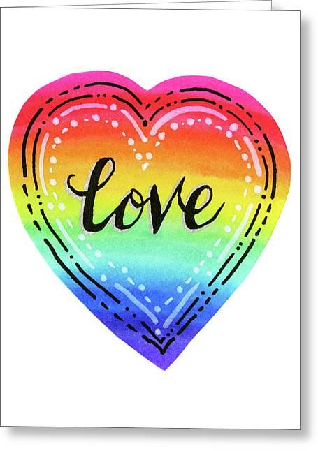 Rainbow Heart Love Greeting Card