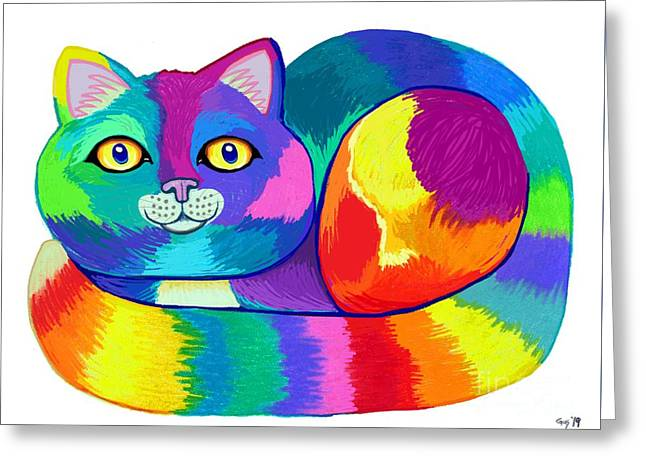 Rainbow Spectrum Cat Greeting Card
