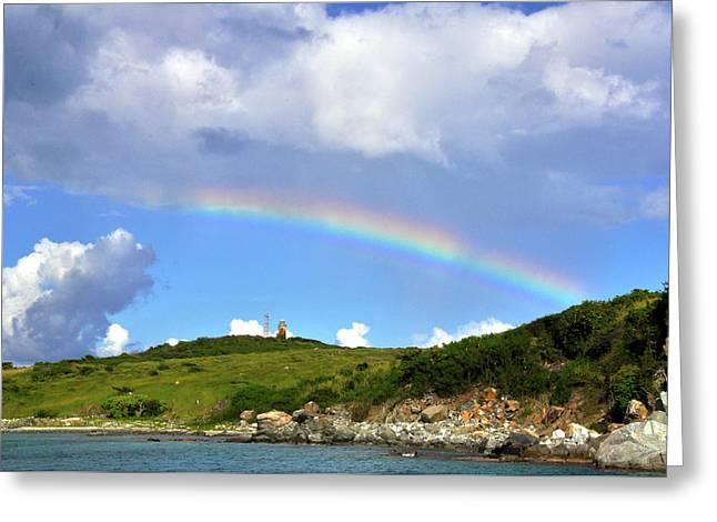 Rainbow Over Buck Island Lighthouse Greeting Card