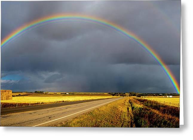 Rainbow Over Crop Land Greeting Card