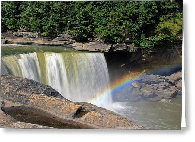Greeting Card featuring the photograph Rainbow Over Cumberland Falls by Angela Murdock