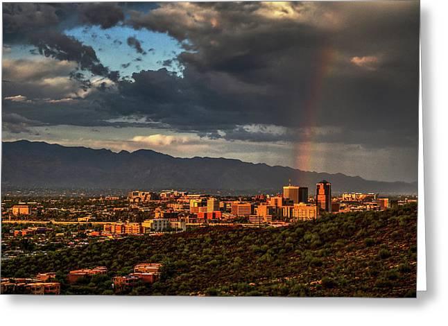 Rainbow Over Tucson Greeting Card