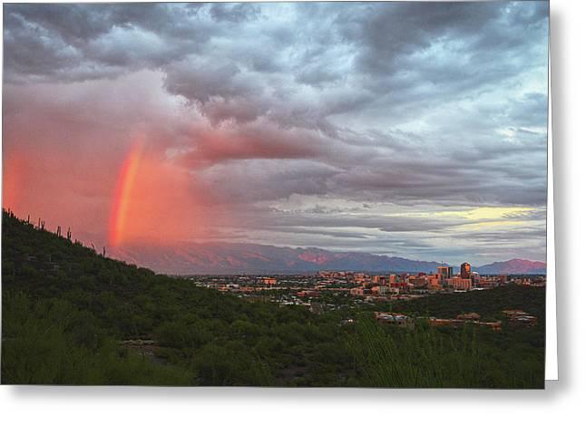 Rainbow Over Tucson Skyline Greeting Card