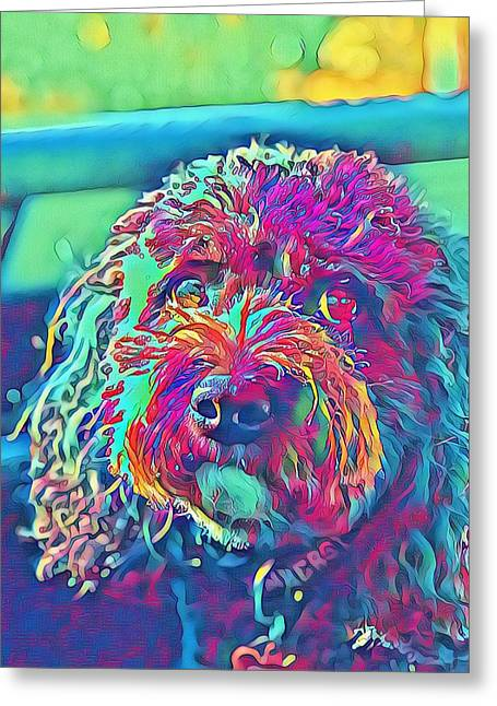 Greeting Card featuring the digital art Rainbow Pup by Cindy Greenstein