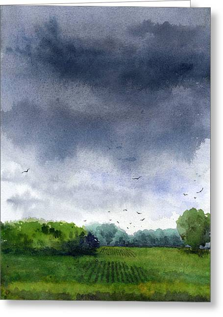 Rains Coming Greeting Card