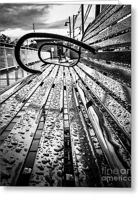 Rainy Days Bench Greeting Card by JMerrickMedia