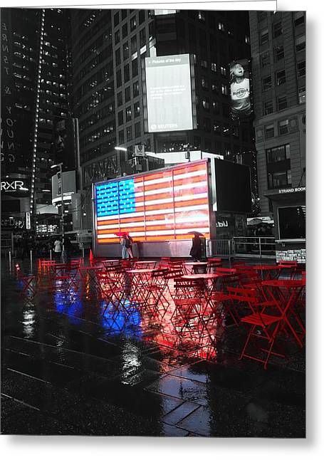 Rainy Days In Time Square  Greeting Card