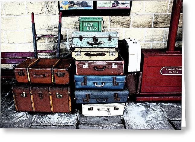 Ramsbottom.  Elr Railway Suitcases On The Platform. Greeting Card